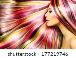 beauty fashion model girl with... | Shutterstock . vector #177219746