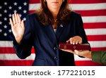 politician  taking an oath of... | Shutterstock . vector #177221015