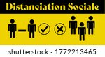 distanciation sociale in french ... | Shutterstock .eps vector #1772213465
