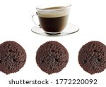 A look at the top of the chocolate Madeleine Cake  and a cup of coffee. - stock photo