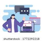 online training  woman using... | Shutterstock .eps vector #1772292218