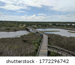 Old Wooden Bridge Over Marshland