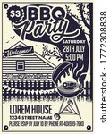bbq party craft paper poster...   Shutterstock .eps vector #1772308838