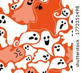 cute ghosts fly on an orange... | Shutterstock .eps vector #1772351498