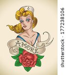 old school navy tattoo of a... | Shutterstock . vector #177238106
