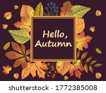 greeting card hello autumn.sign ... | Shutterstock .eps vector #1772385008