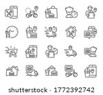 food delivery line icons.... | Shutterstock .eps vector #1772392742