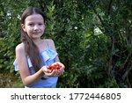 portrait of cute girl in a blue ... | Shutterstock . vector #1772446805