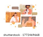 group of diverse female enjoy... | Shutterstock .eps vector #1772469668