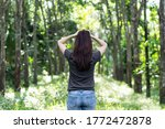 asian woman grab her hair with...   Shutterstock . vector #1772472878