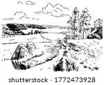 green grass field on small... | Shutterstock .eps vector #1772473928