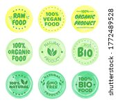 organic food labels. fresh eco... | Shutterstock .eps vector #1772489528