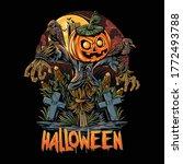 halloween scarecrow and...   Shutterstock .eps vector #1772493788