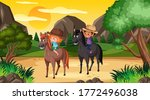scene with two kids riding... | Shutterstock .eps vector #1772496038