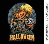 Halloween Scarecrow  Skull Head ...