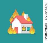 burning house in flat style....   Shutterstock .eps vector #1772546378