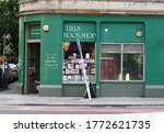 Small photo of Edinburgh, Scotland - 30 July 2014: Green storefront of Tills Bookshop, a secondhand independent bookshop near The Meadows.