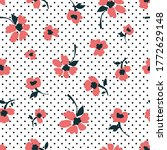dotted floral print on white... | Shutterstock .eps vector #1772629148