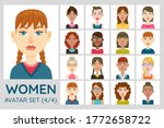female avatar set. collection... | Shutterstock .eps vector #1772658722