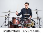 Expressive Young Drummer...