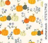 cute hand drawn pumpkin... | Shutterstock .eps vector #1772717912