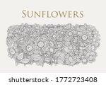 field of sunflowers drawn in... | Shutterstock .eps vector #1772723408