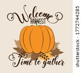 welcome harvest time to gather  ... | Shutterstock .eps vector #1772744285