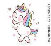 flat unicorn fairy cartoon pony ... | Shutterstock .eps vector #1772765075