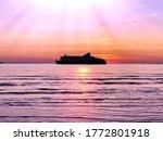 Pink Summer Sunset At Sea On...