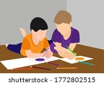 Two Kids Enjoy Drawing Picture...
