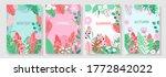 vector set floral background ... | Shutterstock .eps vector #1772842022