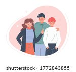 group of teenage boys and girl... | Shutterstock .eps vector #1772843855