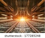 cargo train platform at sunset... | Shutterstock . vector #177285248