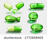 Green Capsules With Vitamin ...