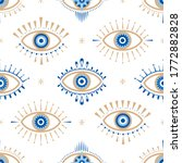 Evil Eye Vector Seamless...