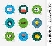 video icons set. movie...