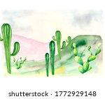 art postcard depicting a green...   Shutterstock . vector #1772929148