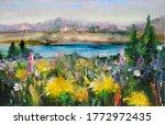 Russian Landscape  Meadow Near...