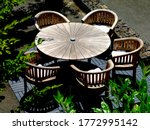 Round Wooden Patio Table With...