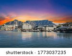 Table mountain waterfront boats and shops in Cape Town South Africa