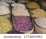 Basket Of Beans And Legumes At...
