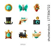 Steampunk elements. Vector flat icons