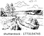 green grass field on small... | Shutterstock .eps vector #1773154745