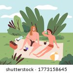 gay couple talking at picnic.... | Shutterstock .eps vector #1773158645