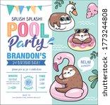 kids birthday  pool party... | Shutterstock .eps vector #1773244808