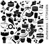 vector black food icons set  ... | Shutterstock .eps vector #177341606
