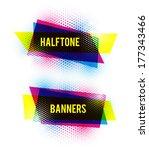 Cmyk Halftone Banners. Vector.
