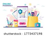 bag with different drugs.... | Shutterstock .eps vector #1773437198
