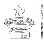 shabu shabu doodle | Shutterstock .eps vector #177344756
