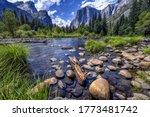 High mountain lake valley trail ...